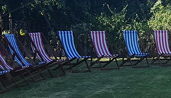 Blue and Red Deck Chairs