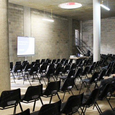 Construction Meeting - Robust seating for building site safety meeting.