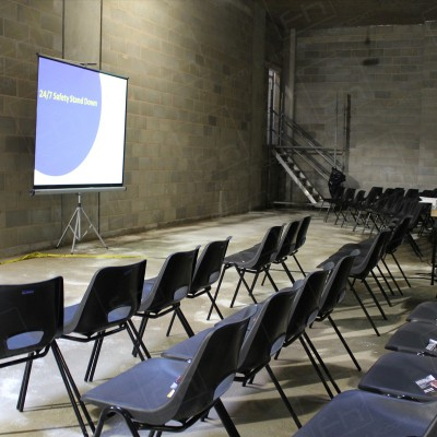 Construction Meeting - Polyprop chairs straightforward & simple to arrange.