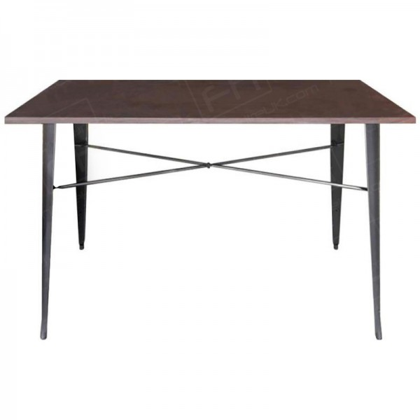 Grey Tolix Style Double Poseur Table Wooden