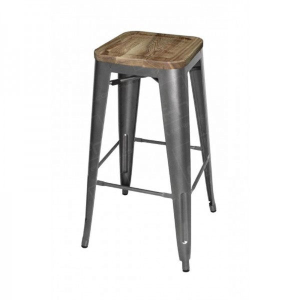 Grey Tolix Style Bistro Bar Stool Wooden Seat