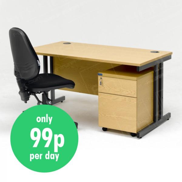 Package A - Desk, Pedestal & Chair