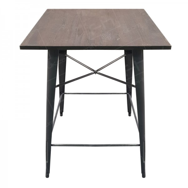 Grey Tolix Style Poseur Table Wooden