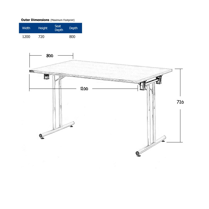 1200 x 800mm White Modular Table Wireframe