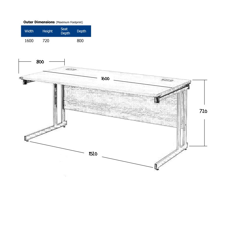 1600 x 800mm Light Oak Desk Wireframe