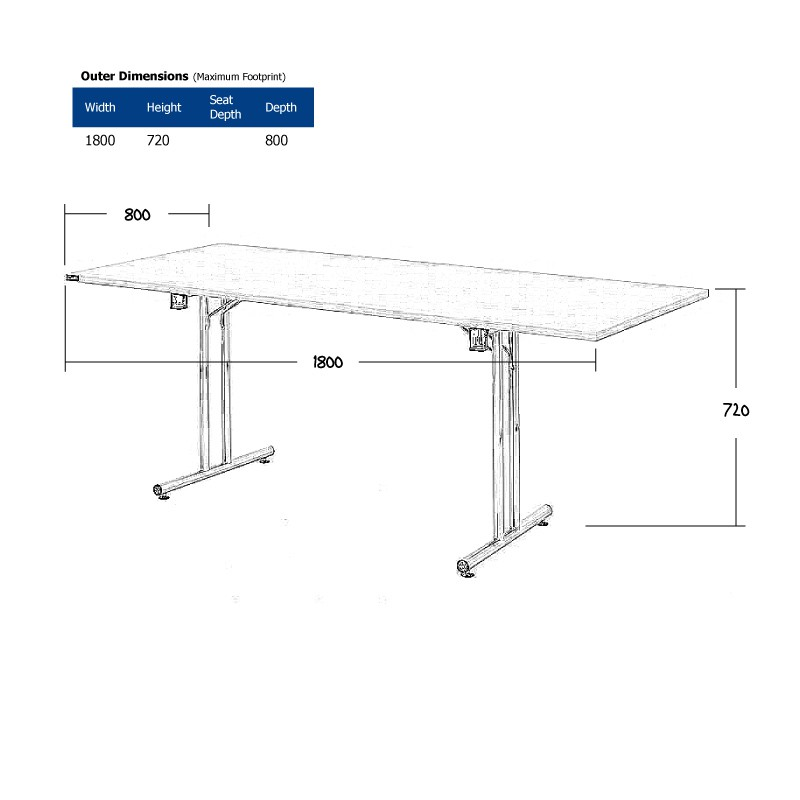 1800 x 800mm White Modular Table Wireframe