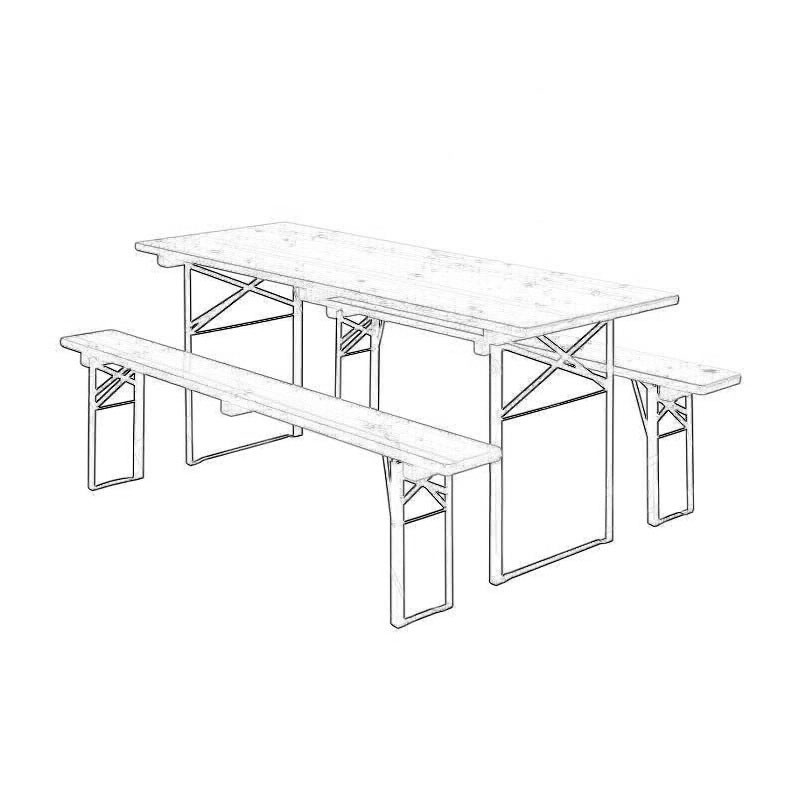 1800mm Beer Table & Benches Set Wireframe