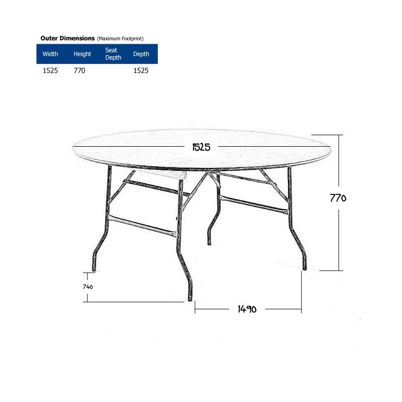 5ft Round Banquet Table Hire (Seats 6-8) Wireframe