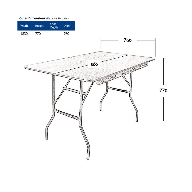6ft Rectangular Trestle Table Hire (Seats 6-8) Wireframe