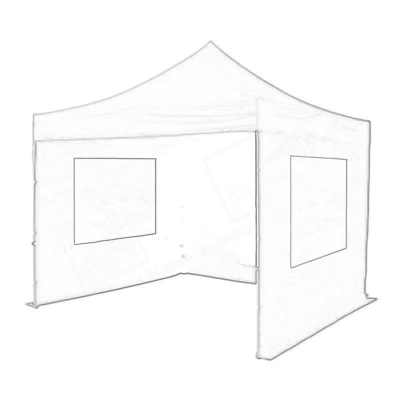 Black Popup Marquee With Sides 3x3m Wireframe