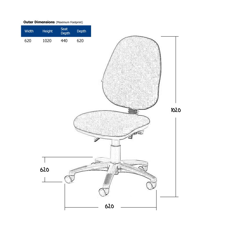 Black Operator Chair without Arms Wireframe