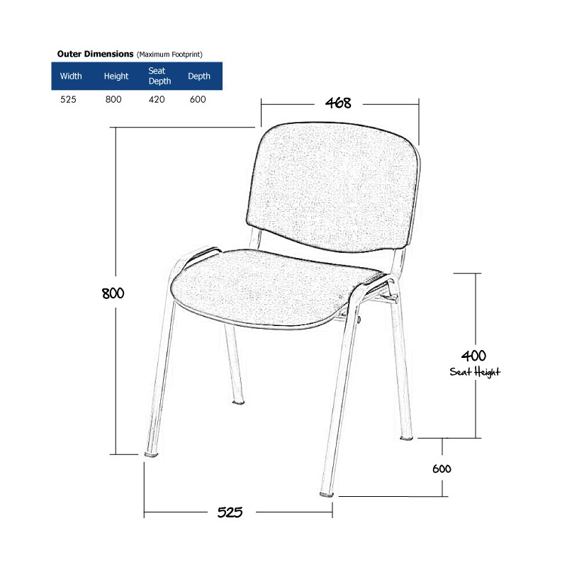 Black Stacking Chair Wireframe
