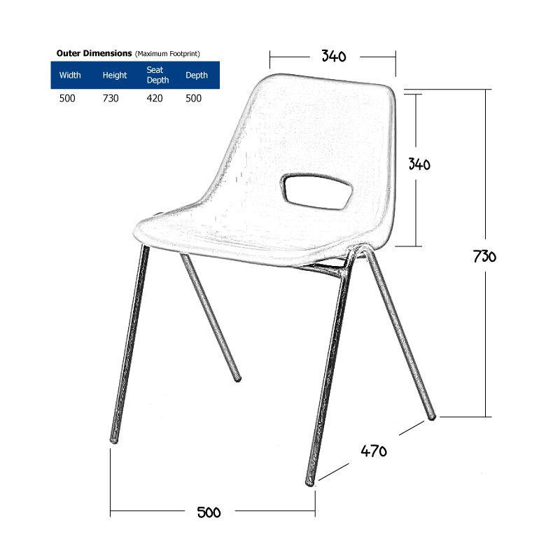 Dark Blue Polyprop Chair Wireframe