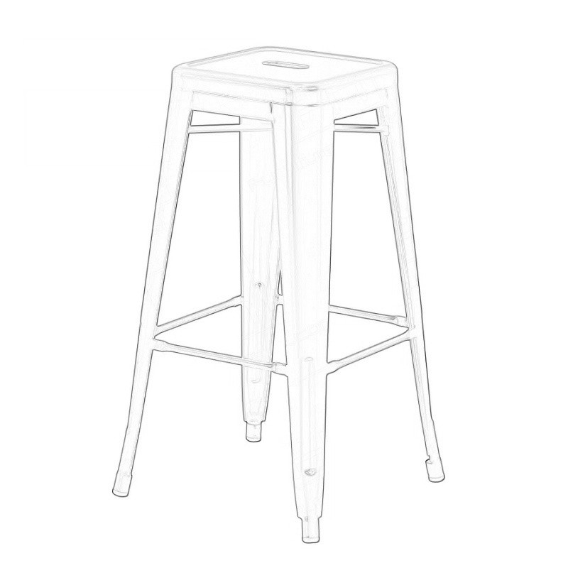 Copper Tolix Style Bistro Bar Stool Wireframe