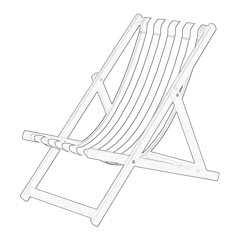 Blue Deck Chair Wireframe