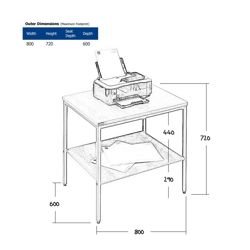 Desk End | Printer Stand Wireframe