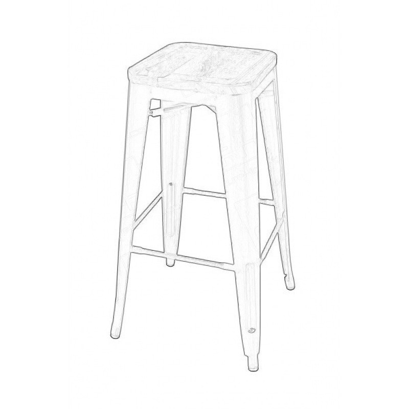 Grey Tolix Style Bistro Bar Stool Wooden Seat Wireframe