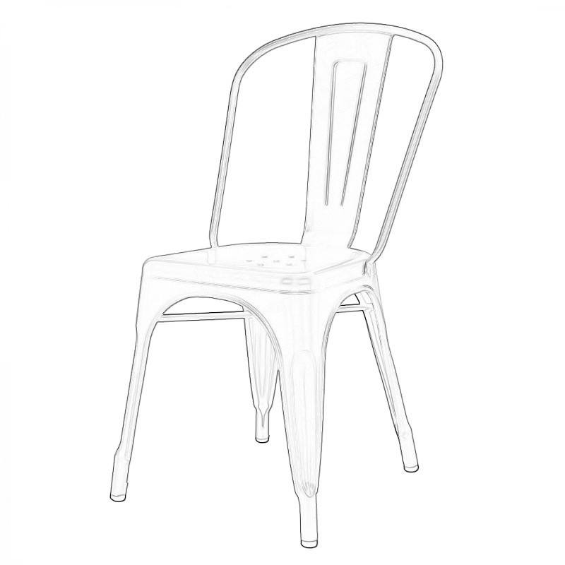 Grey Tolix Style Chair Wireframe