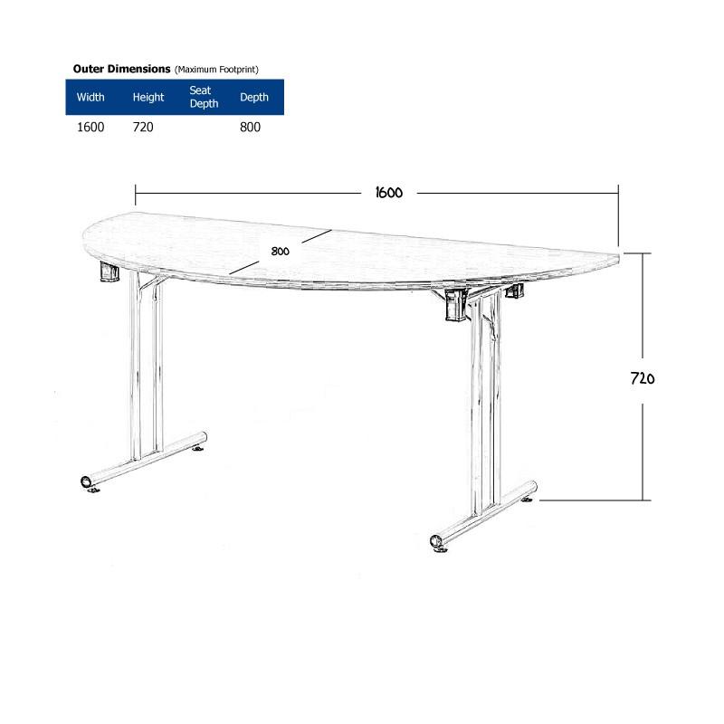 1600 x 800mm Light Oak Modular D-End Table Wireframe