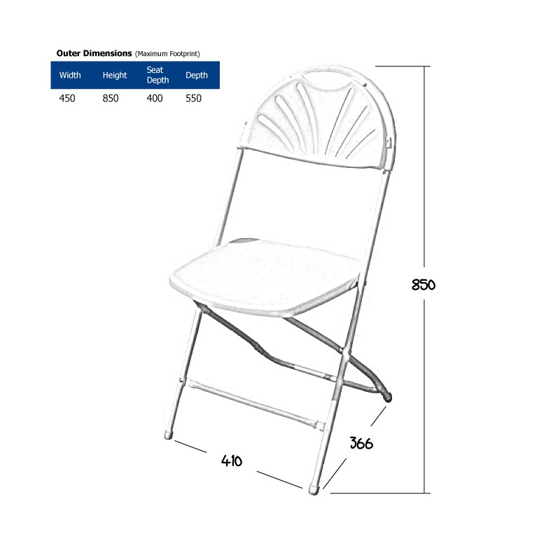 White Folding Chair Wireframe