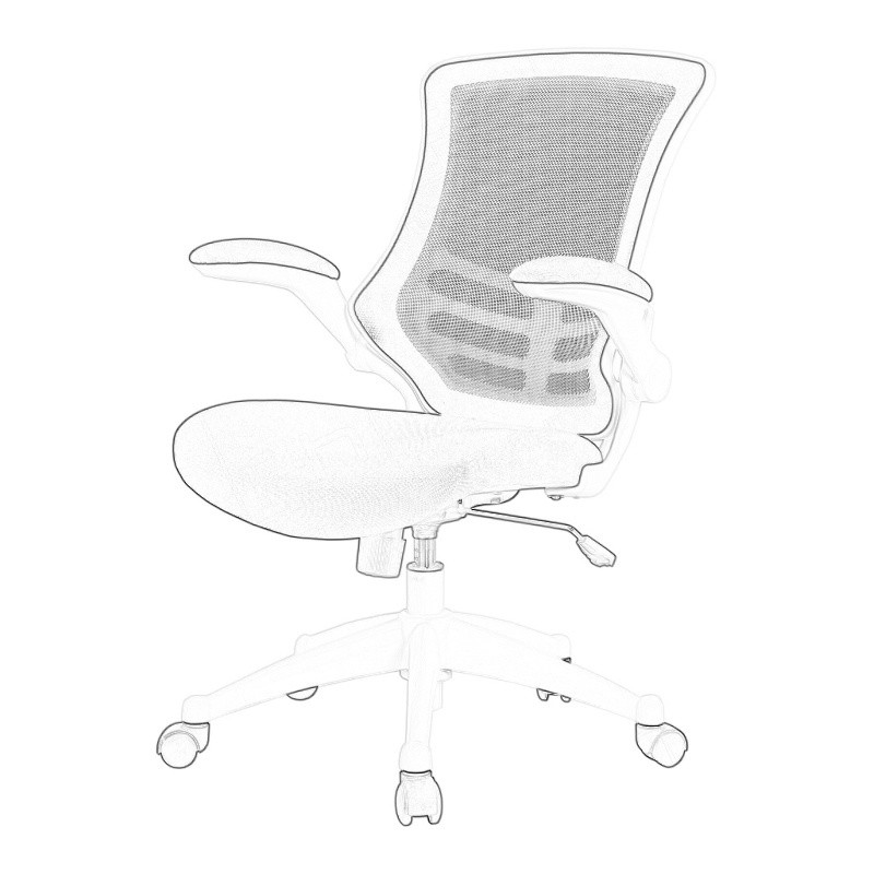 White Mesh Operator Chair Wireframe