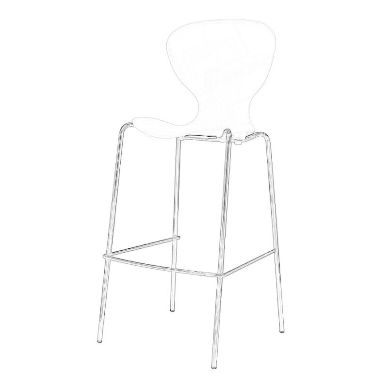White Plastic Stacking Stool Wireframe