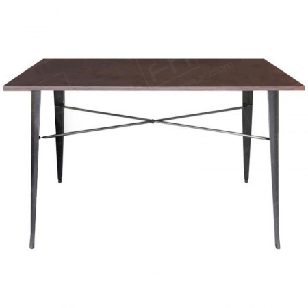 Grey Tolix Style Double Poseur Table Wooden Top 2020