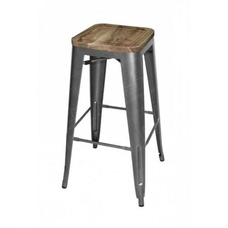 Grey Tolix Style Bar Stool Wooden Seat