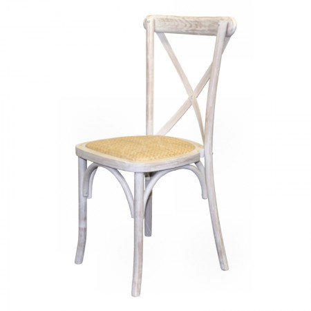 Limewash Cross Back Chair Rental