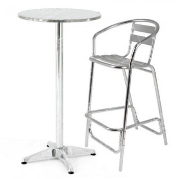 Poseur Table And Aluminium Stools