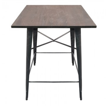 Grey Tolix Style Poseur Table Wooden Top 2020