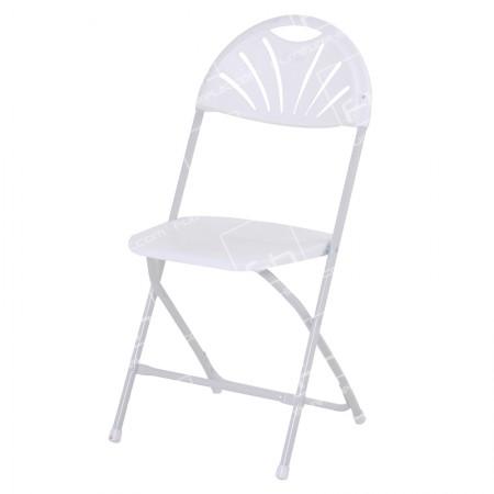 White Folding Fan Back Chair