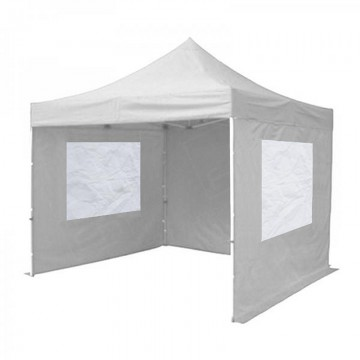 White Gazebo Hire With Sides And Windows