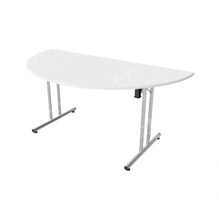 White Modular D End Meeting Table