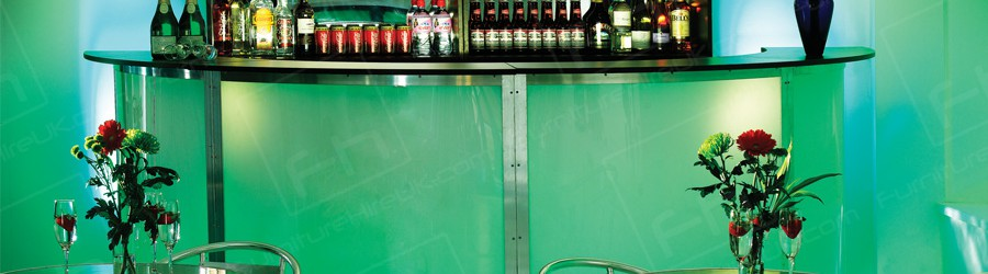 semi circular bar with green lighting