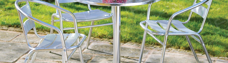 chrome bistro table and chairs